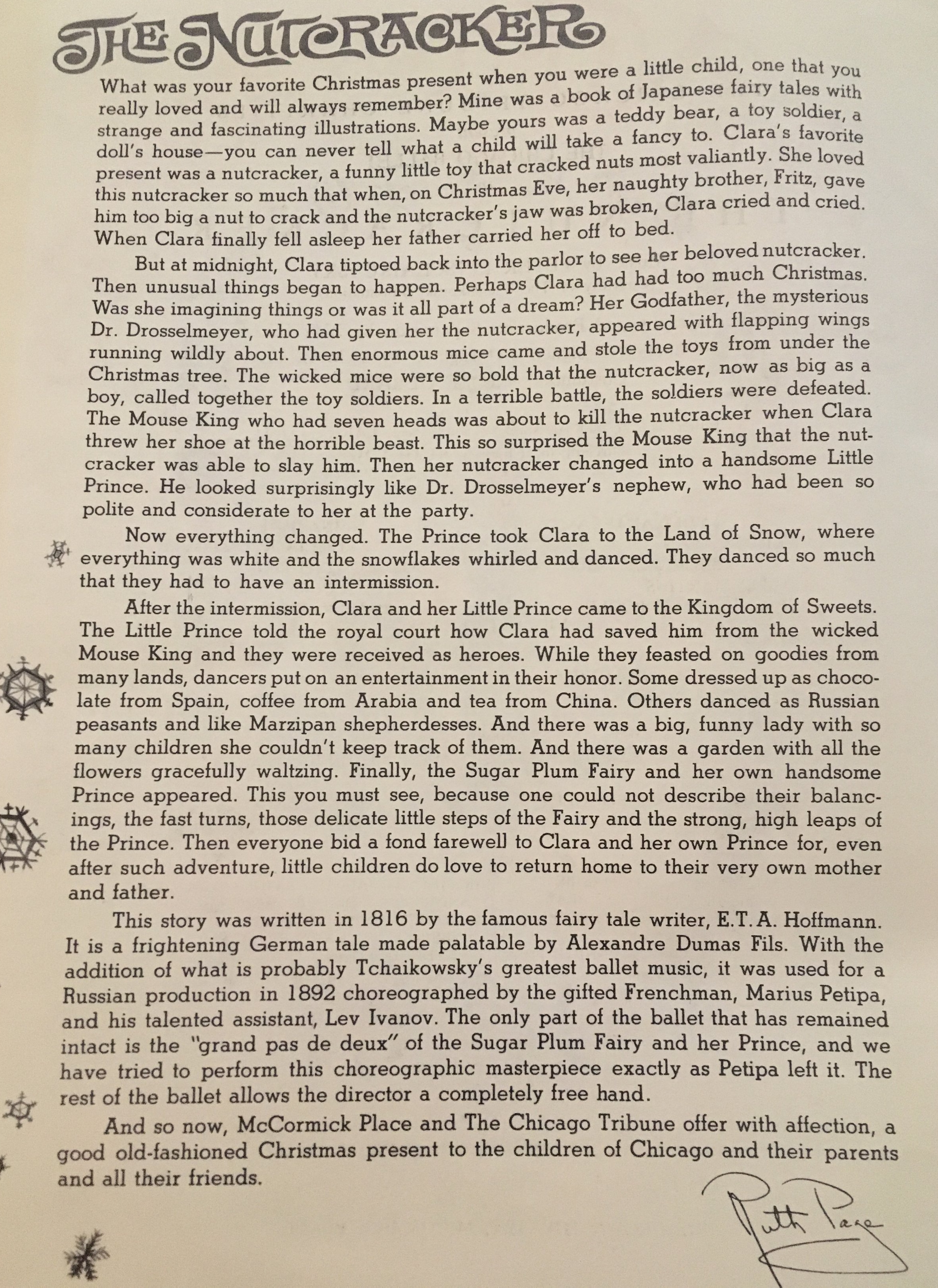 A program note from Ruth Page - 1974