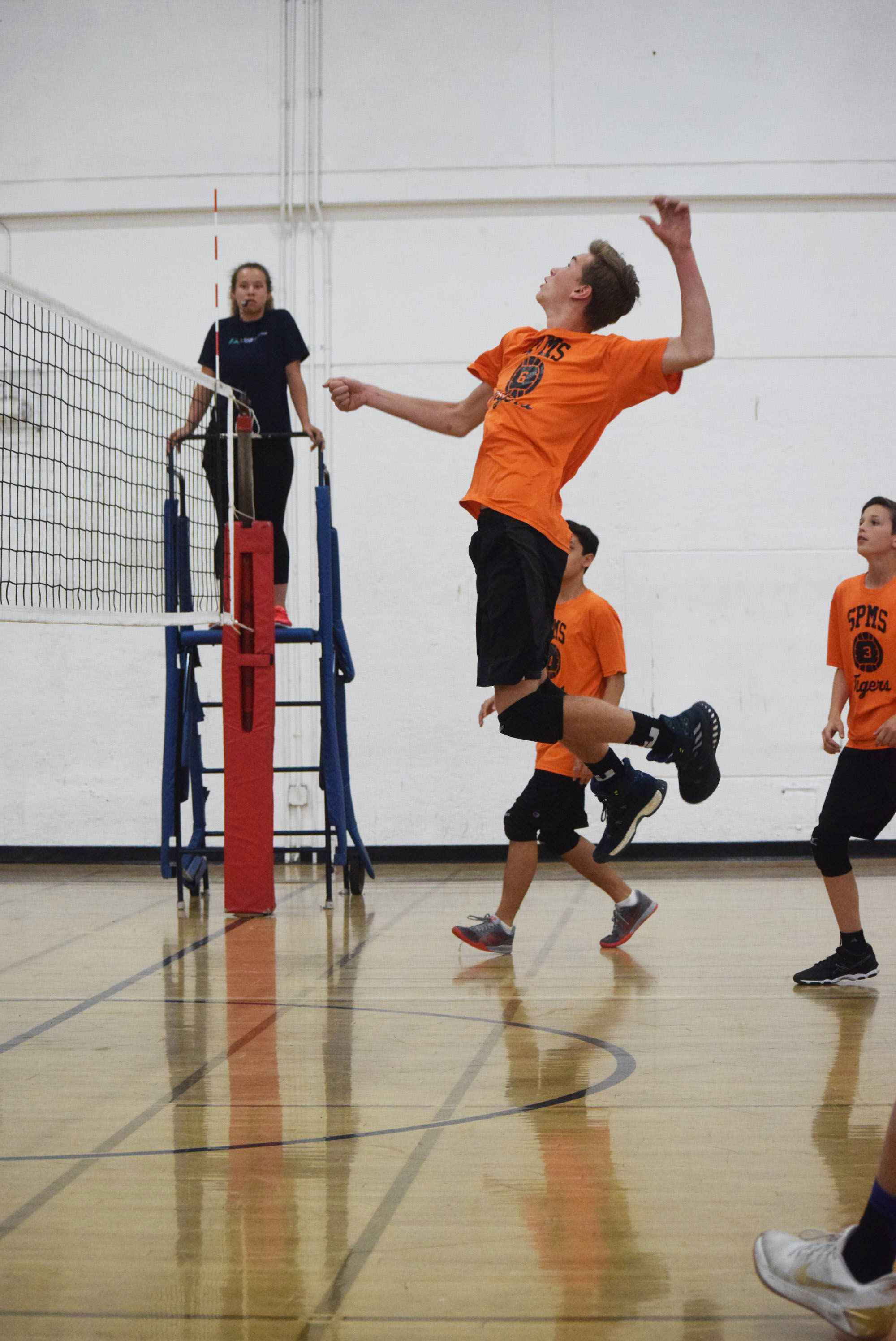 Boy's Volleyball team dominates La Canada - The SPMS boy's volleyball team showed La Canada what they know about volleyball during their first game on Tuesday, April 17. They performed with determination which showed as they won all the sets they played. But it wasn't just one person who made the win, it was a team effort. The captains of the team who showed great passion include Jake Woo (#8), Thompson Crockett (#11), and Tony Rodz (#7). La Canada struggled to receive SPMS's serves and spikes, but when they did, Jonathan Guy (#6) and Mikey Ebner (#14) were prepared to block the ball. SPMS has great communication on the court and it starts with the pass. During the game Tony Rodz, Thompson Crockett, and Noah Kuhn (#5) had some amazing passes to our school's setter Aidan Hilger (#3). Aidan would then beautifully set the ball to a hitter who was normally, Jake Woo, Caleb Hunt (#15), or Grant Huntley (#9) to score a point.