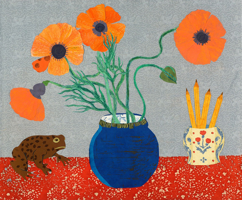 Poppies, pencil and toad greeting card