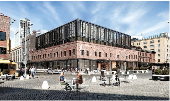 9-19 Ninth Avenue, rendering of LPC-approved façade re-design by Backen Gillam Kroeger Architects.