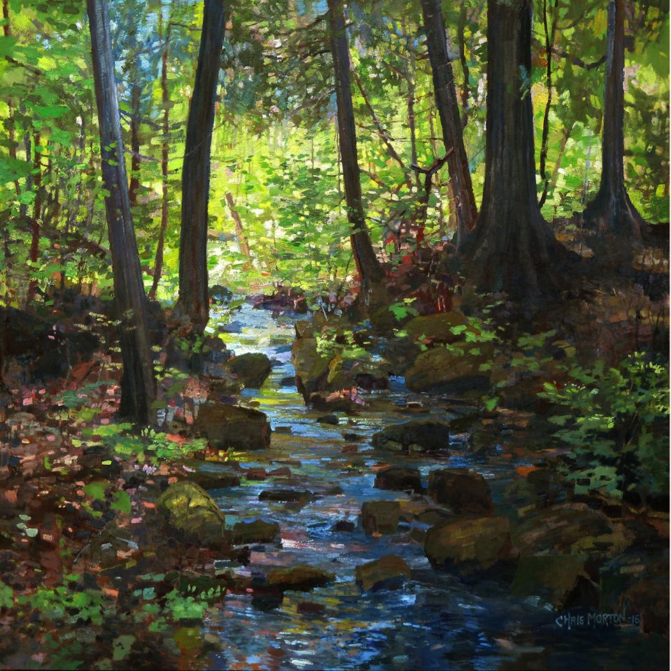 "Chris Morton ""Hidden Gem"". Oil on composition board, 38.5"" square. Private collection."