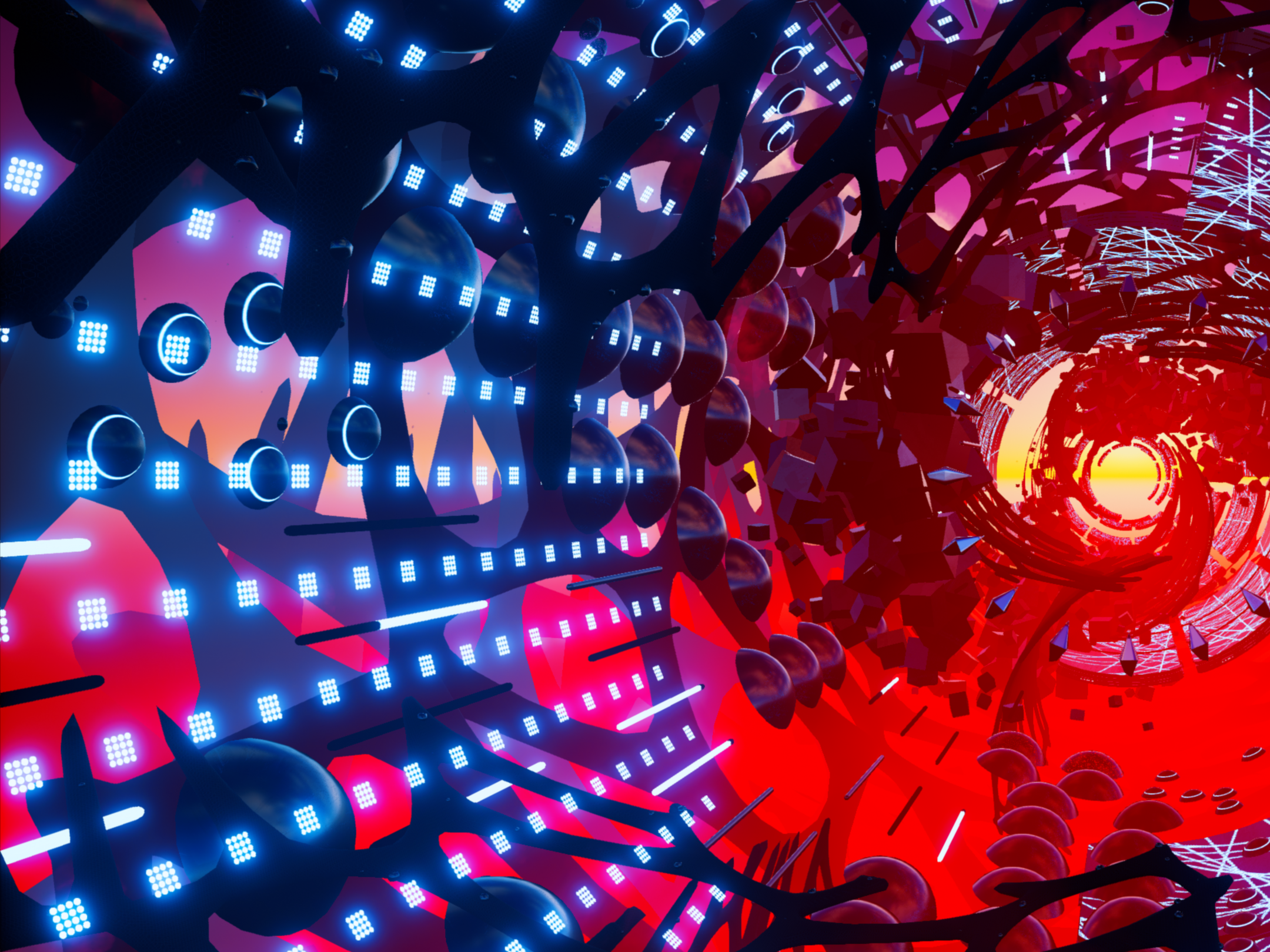 Ride with us - Fantasynth is an audio-reactive experience designed for Virtual Reality.Glide through a procedurally populated environment that comes alight with the music.Featuring the song Chez Nous by N'to.Duration: 7 minutes.