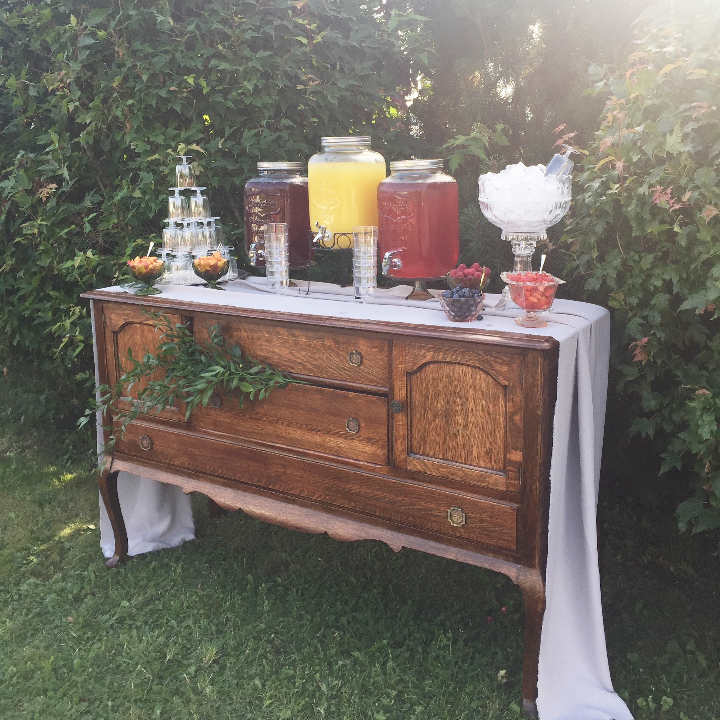 Sangria Bar featuring our Olive Sideboard