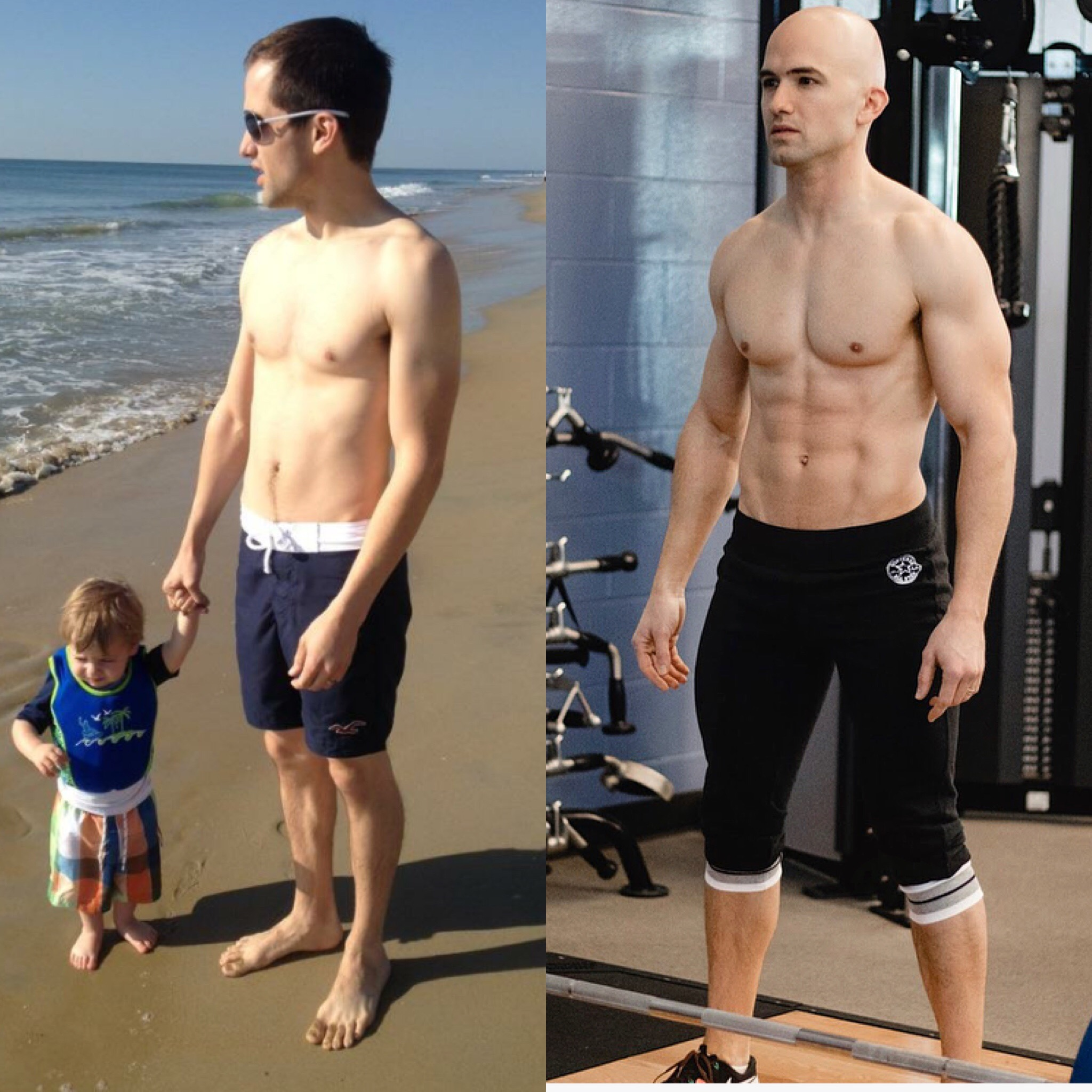 My Transformation - My name is Michael Ashford.I'm just like you. I've got a family, I've got a full-time job (as a marketing executive at a software company), and I've got my hobbies and passions.But in 2012 when I went to the beach with my wife and then-almost-2-year-old son, and my wife snapped the picture of me you see on the left, I saw the picture and was hit with the reality that I was not doing all I could to ensure I was taking care of myself — for my sake and for my family's sake.I was merely getting by, and I decided to change.In the years since, I've dedicated myself to living a healthy, active lifestyle by working out at least five times a week. I've changed my diet, for health reasons (gluten intolerance) and because so much of our health is directly linked to the foods we consume.In July 2016, I became a certified personal trainer (NASM-CPT), further enhancing my dedication to fitness and health.I want to pass my love of fitness and health on to my kids – I have a son and a daughter – and also be healthy myself so that I can live a long, fulfilling life as I grow older. I want to give other busy fathers ideas for how to remain fit and active themselves and use that lifestyle to stay involved in their kids' lives instead of checking out, as I see so many fathers doing.Fit Dad Fitness is all about equipping fathers to live an active, involved, healthy life with their children.• Learn more about my membership site: The Daily Fit Dad• Learn more about my custom, one-on-one coaching• Read my transformation story as highlighted by Train Magazine and Men's Health Magazine.• Check out the brands with which I'm affiliated.