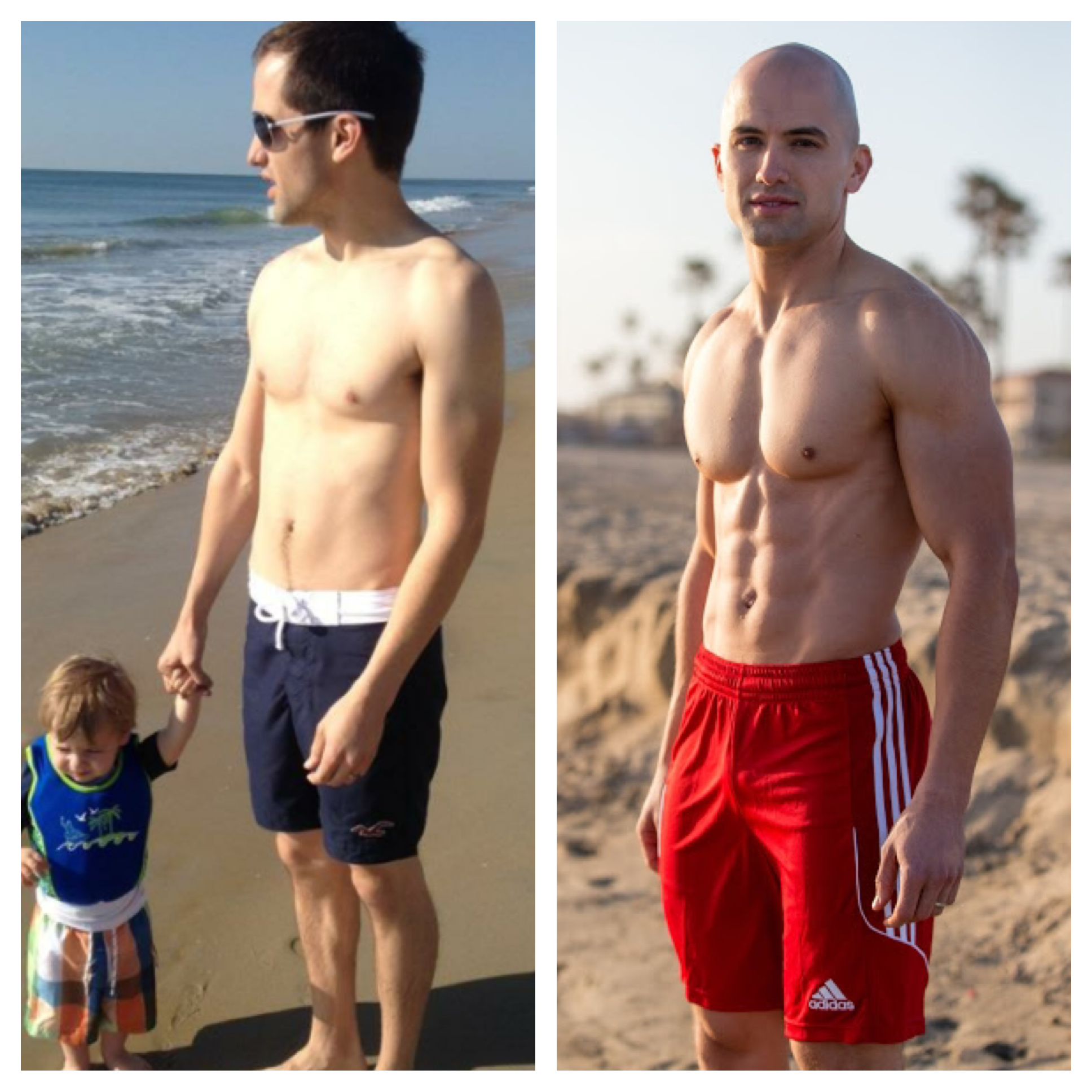 On the left: the picture that spurred my decision to become a Fit Dad. On the right: four years later and no stopping now!