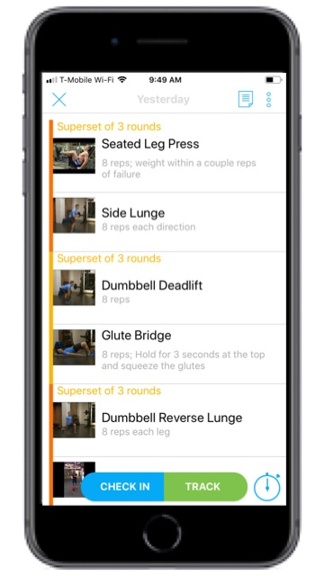 All workouts are delivered via my training app, which features instructions, workout tracking, and video tutorials.