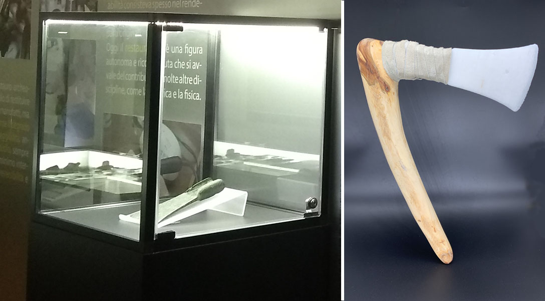 The original axe blade in the museum showcase and the 3D printed copy with the missing handle back.