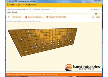 Il layout del software di conversione da Testo a Braille