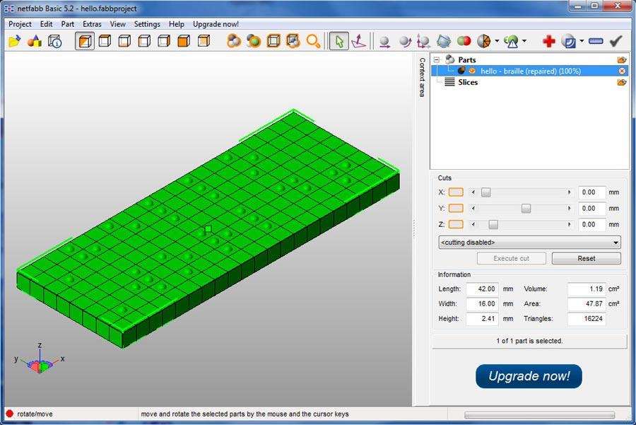 Modello 3D di una placcheta scritta in Braille creata dal software