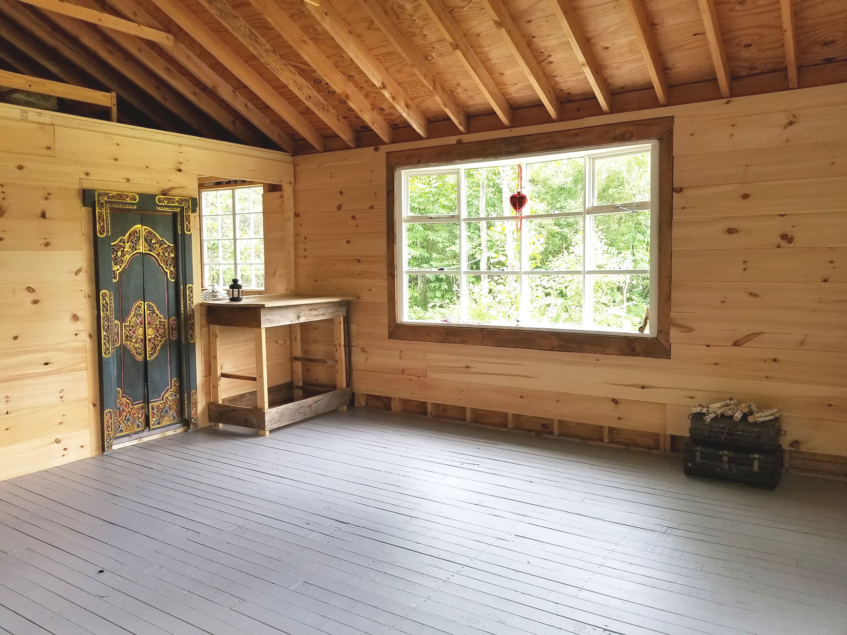The practice room at Tourmaline Center gathering cottage.