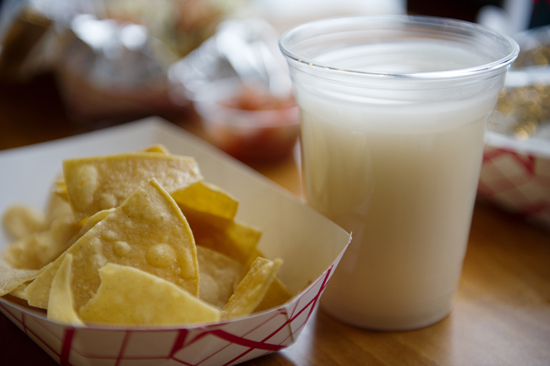 El Palon's horchata, a traditional Mexican drink, is a cool antidote to soothe habanero-seared tongues.