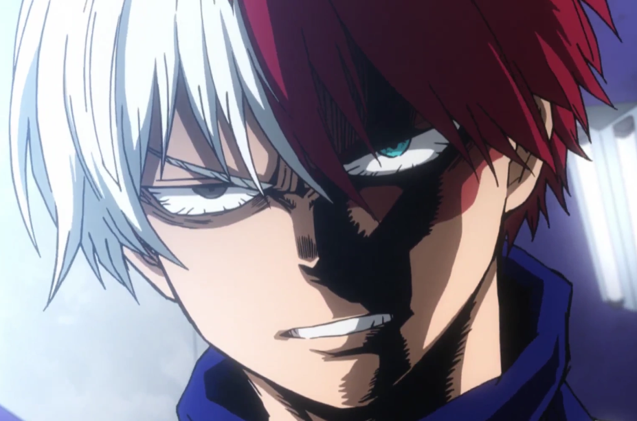Todoroki, literally raging about Endeavor during the tournament arc