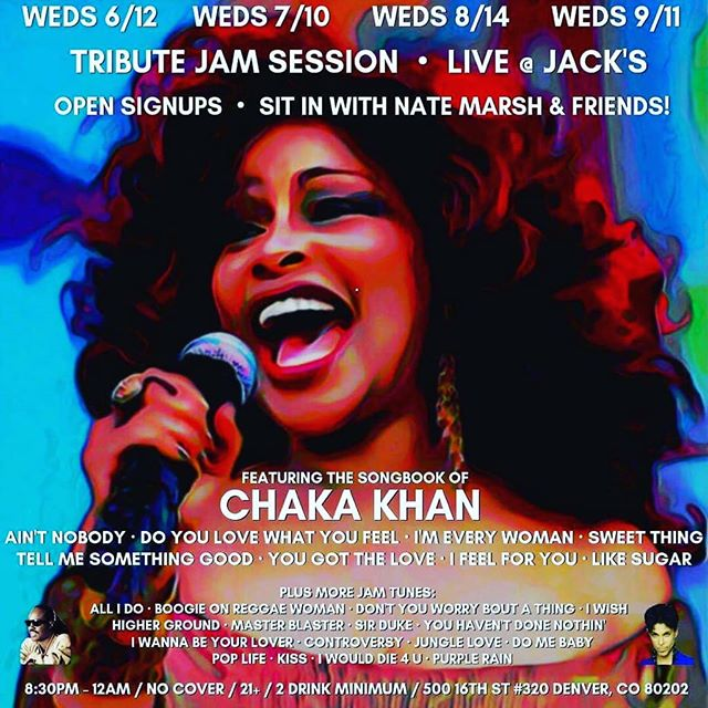 WEDNESDAY NIGHT Come play and sing these incredible tunes with us at the #ChakaKhanJam at #LiveAtJacks this Wednesday night with the #NateMarshTrbuteJam  We're playing the best of #StevieWonder #Prince and finally #ChakaKhan  The jam starts at 8:30 and goes until midnight. Come sign up for your favorite tunes!  #JessicaJones #JessicaLoveJones #LiveMusic #Denver #Colorado