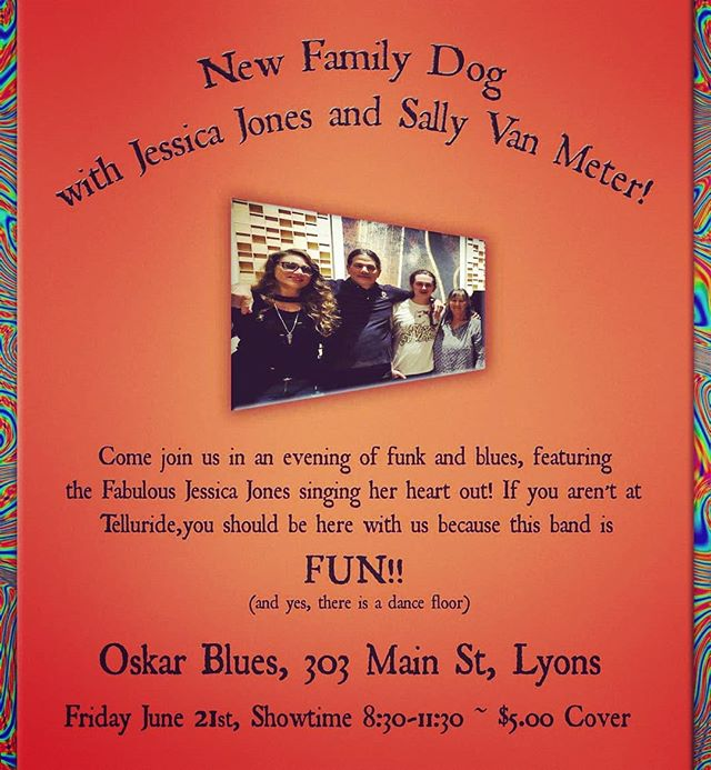 TONIGHT!  I'm so excited to play with these amazing musicians again!  Come to #OskarBlues in #Lyons tonight for #NewFamilyDog at 8:30.  We'll be performing songs from the new album #Cherish that we recorded at #eTownHall in #Boulder #Colorado last December.  You can find that album here https://open.spotify.com/album/1nKzlgMIXddhSoszfy7wY6?si=T2TDlPOERqKXclS7XoR3Gg  #JessicaJones #JessicaLoveJones #LiveMusic