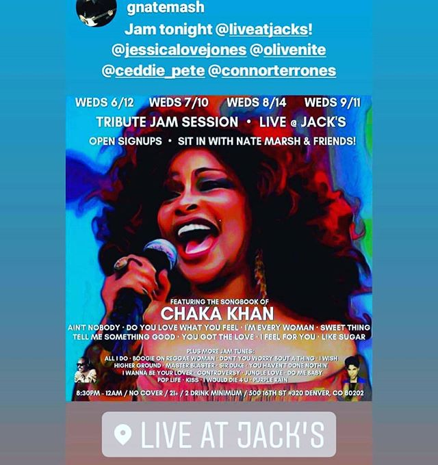 WEDNESDAY NIGHT!  Come jam with the #NateMarshTrbuteJam at #LiveAtJacks in the Denver Pavilions from 8-30 till midnight. We have a killer house band and back lined mics, amps, drums and keys. This jam only happens once a month so don't miss it!  #JessicaJones #JessicaLoveJones #LiveMusic #Denver #Colorado