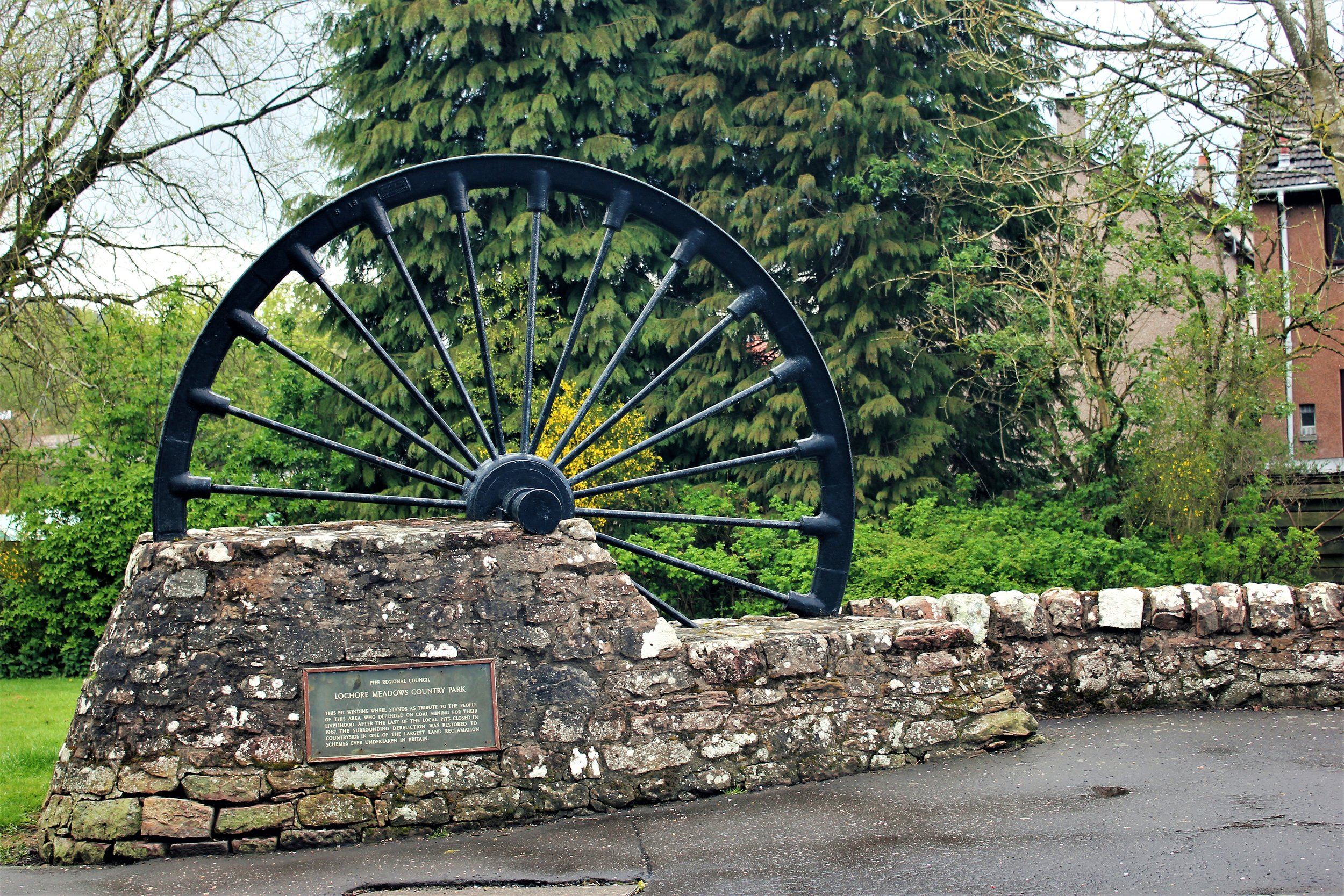 Winding wheel, exit/entry to Lochore Meadows Country Park