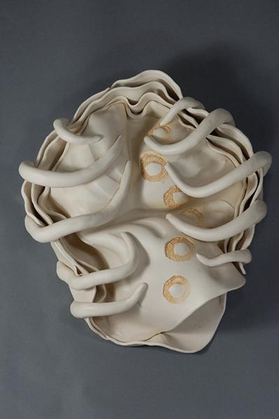 "Ektoskeletal Torso - snakeroots 2011 porcelain 14 x 12 x 4"""