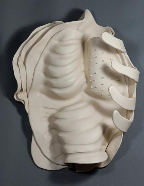 "Ektoskeletal Torso - lg.cactus 2011 porcelain 17 x 13 x 5"""