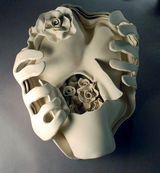 "Ektoskeletal Torso- lg. open heart w.roses 2011 porcelain 18 x 12 x 6"""