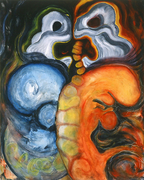 "Dbl. Fetus Butterfly w. Wailing Pelvis 1997 oils/cnvs. 48 x 60""   Using the body as metaphor to address the human psyche, my work is rich in content with strong archetypal and biomorphic images. Although my initiating impetus is often rooted in the personal, the completed works speak to the universal, reflecting larger concerns with the soul of humanity and our severely impacted natural environment. The wailing pelvis image represents fertility, Mother Nature and her horror at the abuse and neglect of earth and the environment."