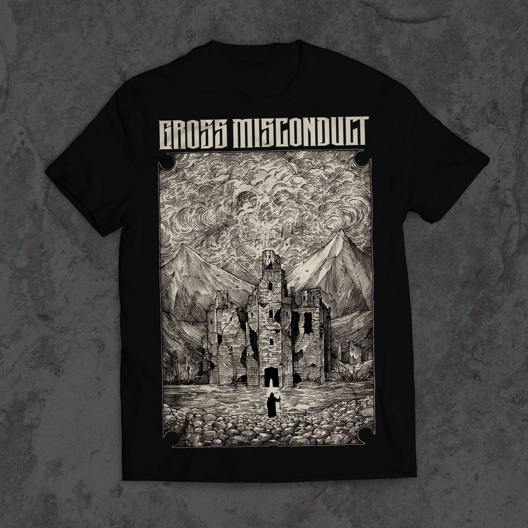 New GM shirts out now. Order at  https://grossmisconduct.bandcamp.com/merch/castle-t-shirt
