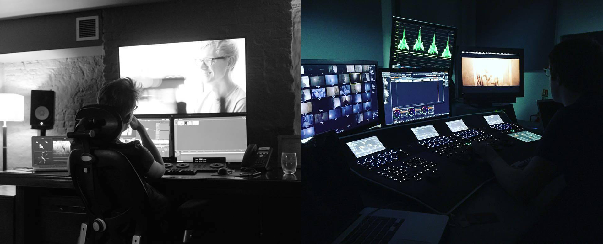 Grading on a Resolve System on the Left and a Nucoda System on the Right.