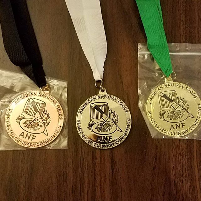 Eco-Cuisine's non-profit arm, American Natural Foods (@americannaturalfoods), is hosting the first ever professional plant-based food cooking competition at @uofdenver, hosted by @coloradodrybeans and @grecoandsonsinc on August 12. These shiny new medals will be awarded to the winner! Show your support by donating via the link in profile or tag a professional chef who you think could take home the gold! We've still got a few spots open for competitors!  #plantbased #vegan #plantpowered #coloradovegan #vegancommunity #plantprotein #vegetarian #healthyfood #plantbaseddiet #eatmoreplants #healthylifestyle #vegansofig #whatveganseat #govegan #veganlifestyle #veganlove #veganeats #bouldervegan #ecocuisine #eco-cuisine