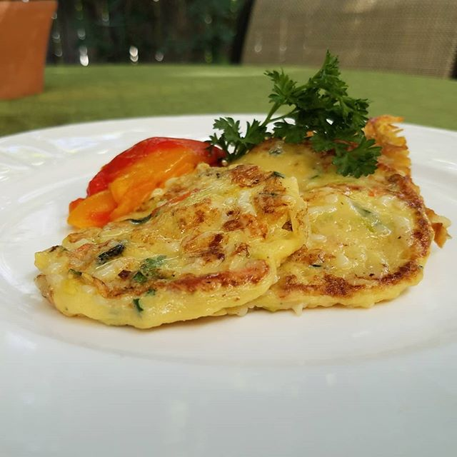 """Eco-Cuisine launchs vegan Basic """"Egg Style"""" Quick Mix.  It functions like an egg, taste better than any similar product in commerece, and cost about 1/3rd the cost of Just Egg.  You can scramble it, make quiches, and just about anything you do with eggs.  The picture as a vegan zucchini pancake.  #veganegg #plantproteinforward #chef #vegan #peta #americanculinaryfederation #vegetarianresourcegroup"""