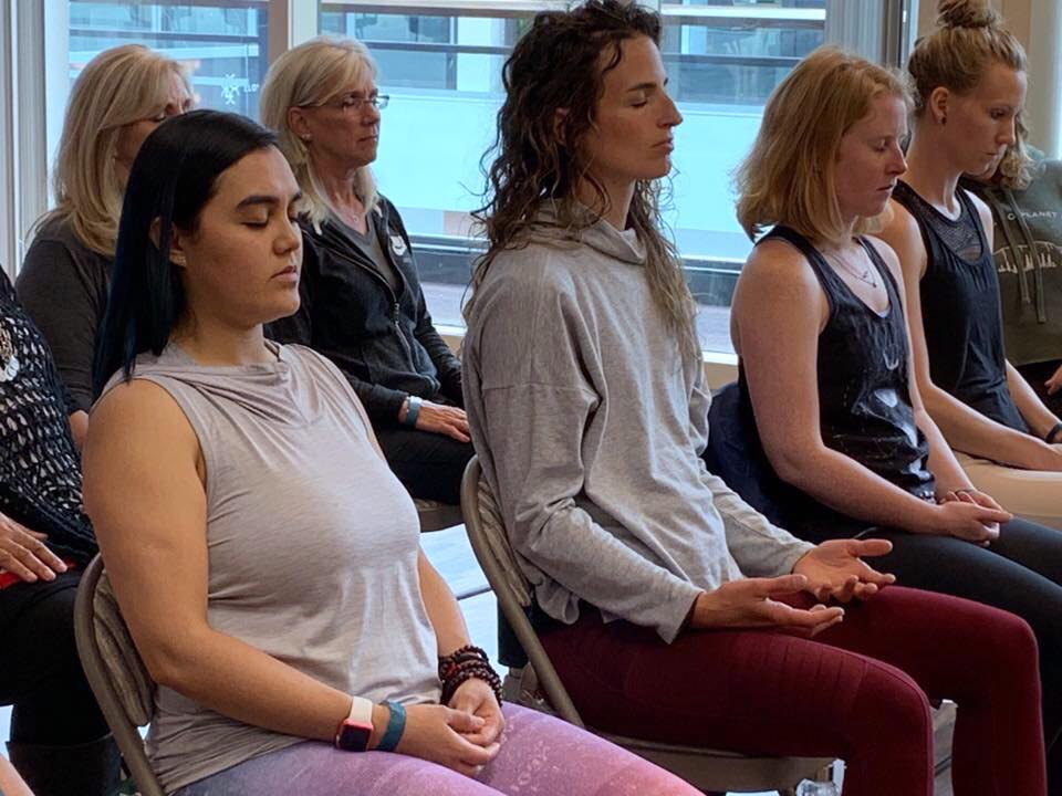 Chris led a wonderful and introspective stress-relief meditation at our Spring Pop Up.