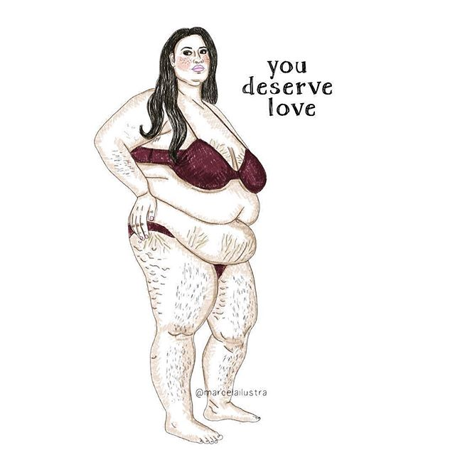 #Repost @draw.more.plus ・・・ Art by @marcelailustra #repost #drawmoreplus ・・・ #tbt To all of you who do not feel worthy of love because of your bodies. To you who think you would be good enough if you were thin, if you did not have cellulites or stretch marks and if you had perfect skin like that girl you follow. For you who feel bad when you look at yourself naked in the mirror, for you who feel dirty when your body hair is growing and for you who feel terrible about the scale number. To all of you: you deserve love exactly as you are, here and now. You do not have to be anything you do not want to be because you are already wonderful. Do not let unrealistic standards make you feel unworthy of all the happiness this life can offer you. You deserve so much! Go get it 🌻💛 #bopo #bopowarrior #bodypositive #bodypositivity #youareworthy #selflove #effyourbeautystandards #fatpositive