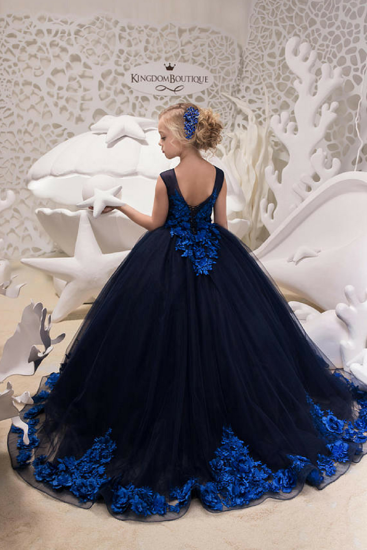 Flowergirl Navy Blue Tulle Dress - $241