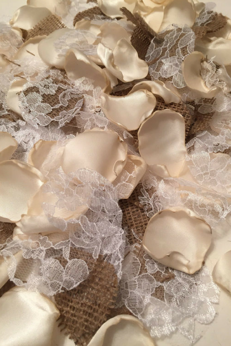 Burlap, Satin and Lace Petals - from $10