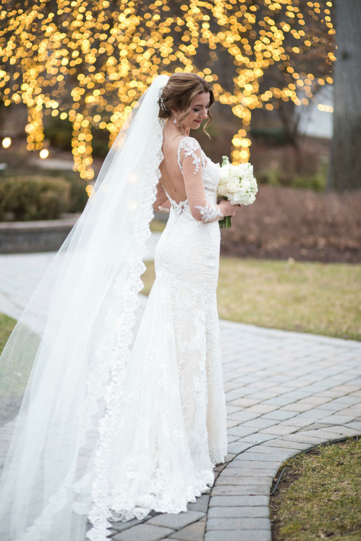 Sequin Lace Veil  - from $225