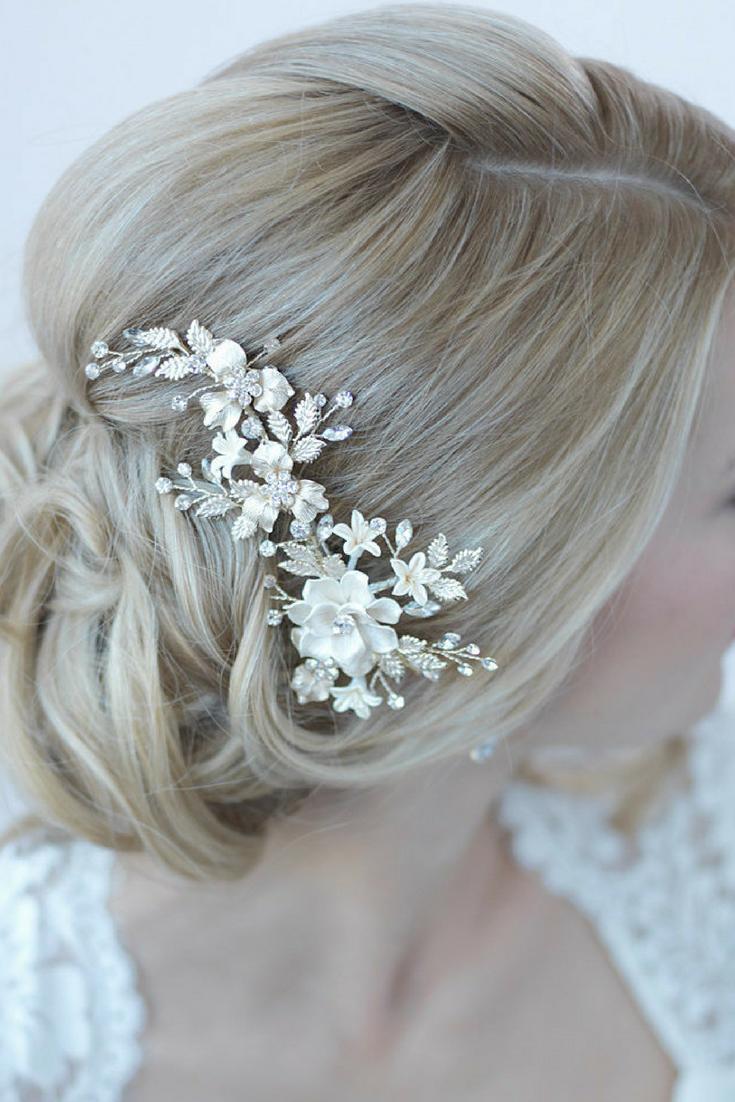 Ivory Floral Hair Clip- $99
