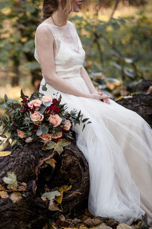 bridal look bridal bouquet burgundy peach fall wedding.jpg