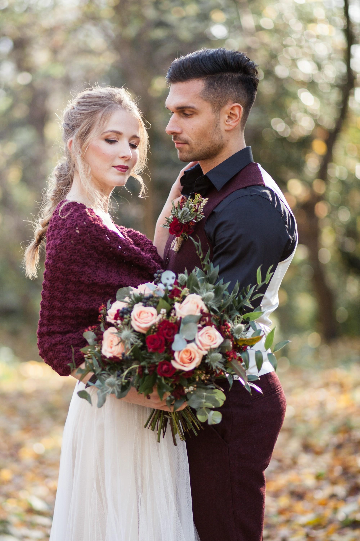 Winter Wedding Bolero Burgundy Shrug Bridal dress Cover up Capelet for brides...jpg
