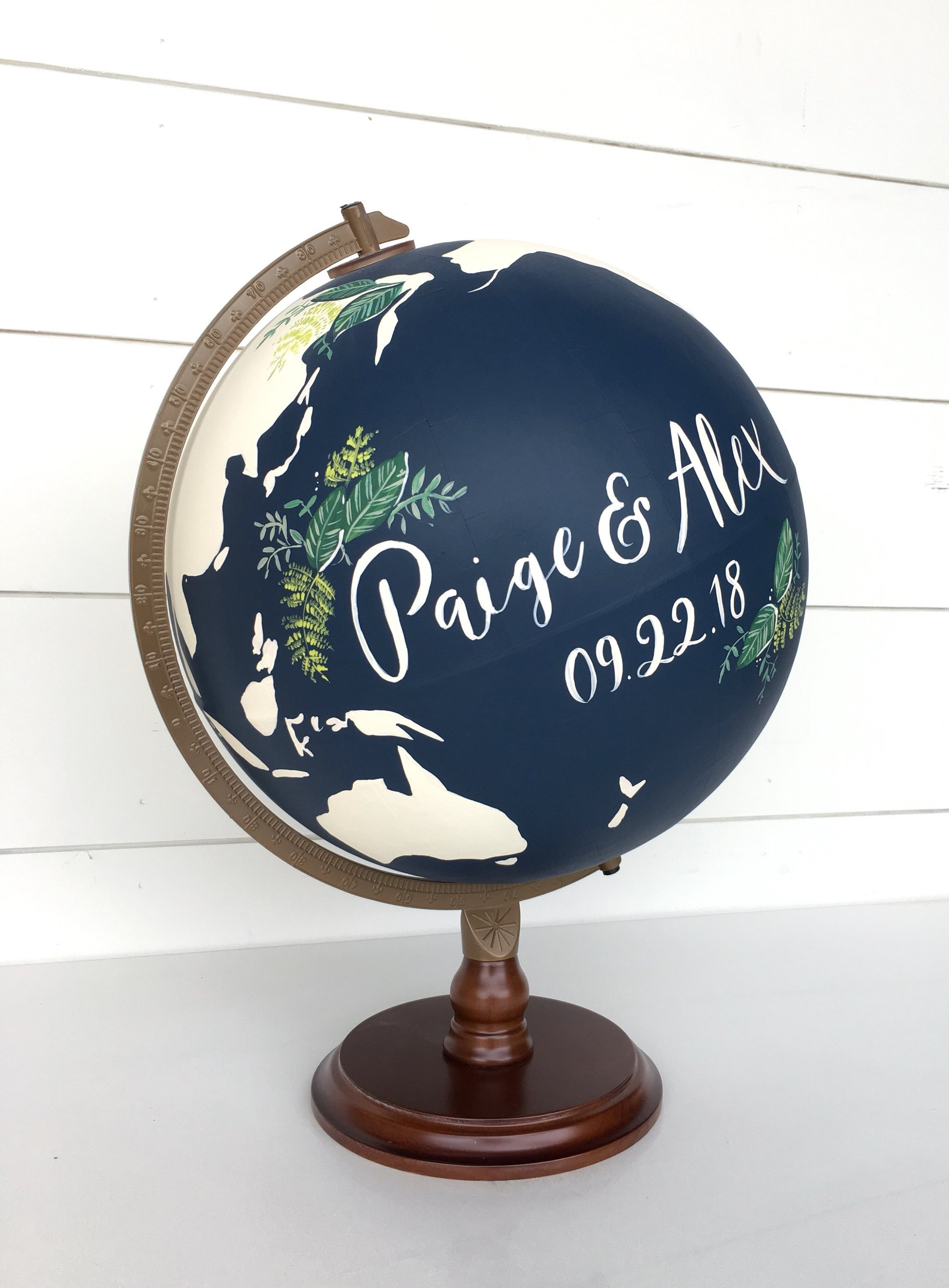 Globe Wedding Guestbook Custom Calligraphy with Greenery and Laurels Large World Globe.jpg