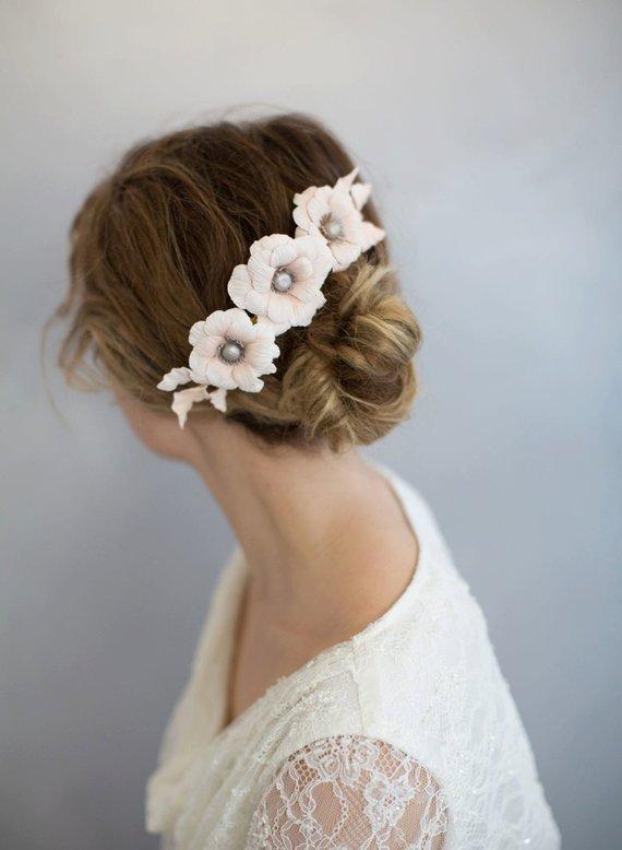 Bridal clay flower headpiece ,.jpg