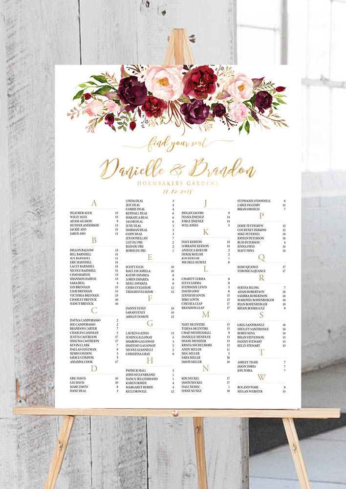 Burgundy, blush, Wedding Seating Chart..jpg