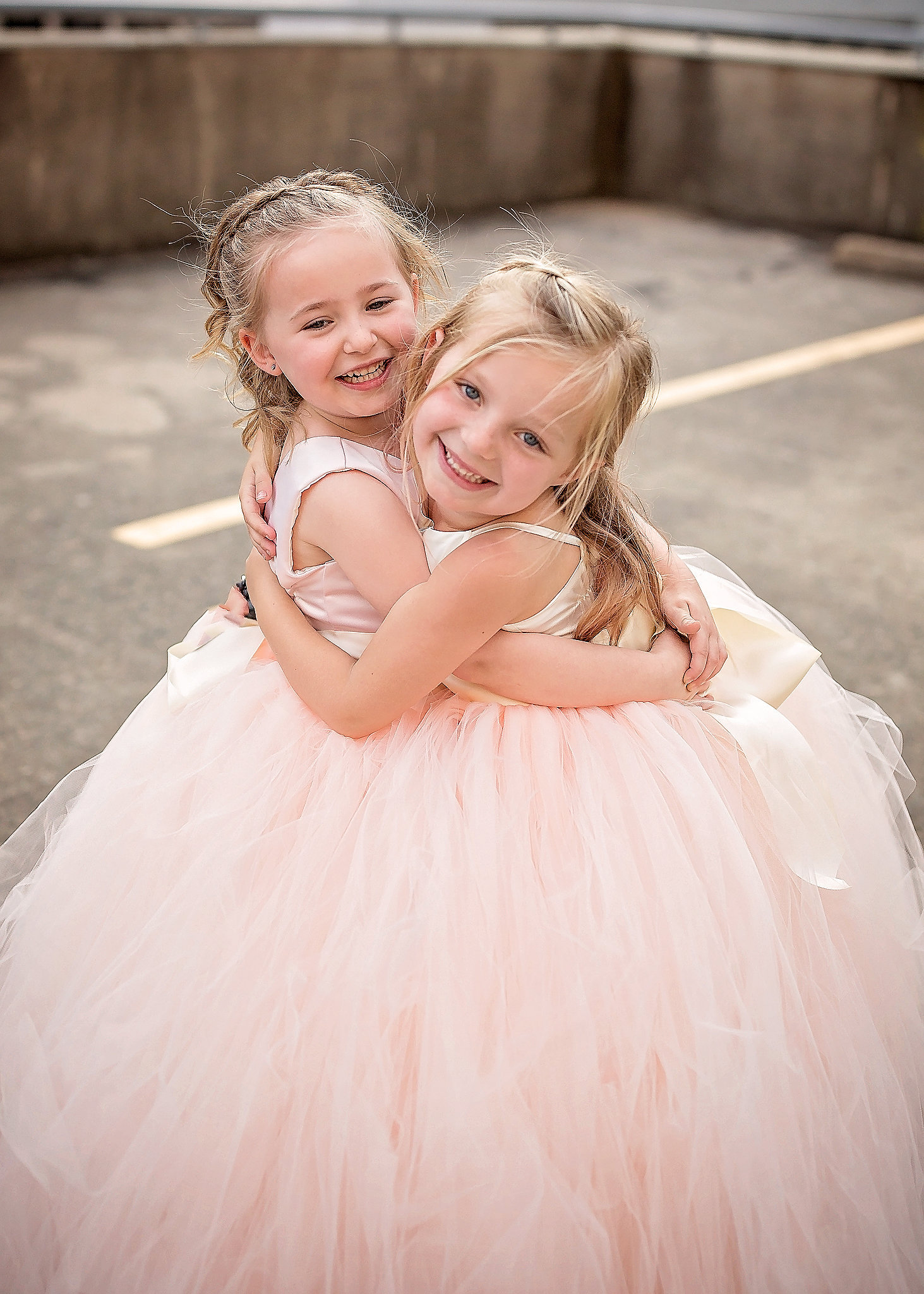 Ivory Satin Bodice and Blush Tulle - Flower Girl Tutu Dress,.jpg