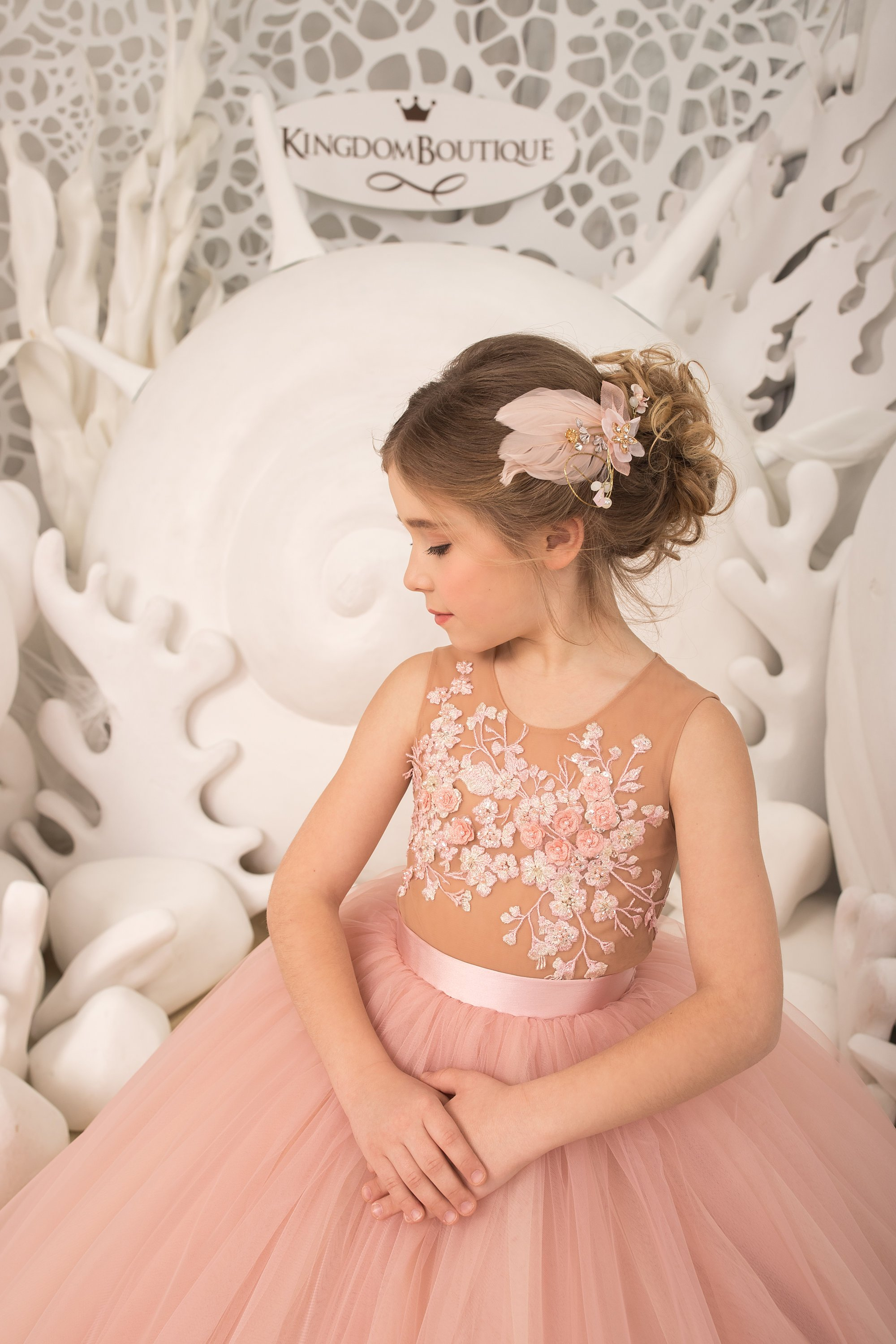 Blush pink and yellow Flower Girl Dress priness look,.jpg