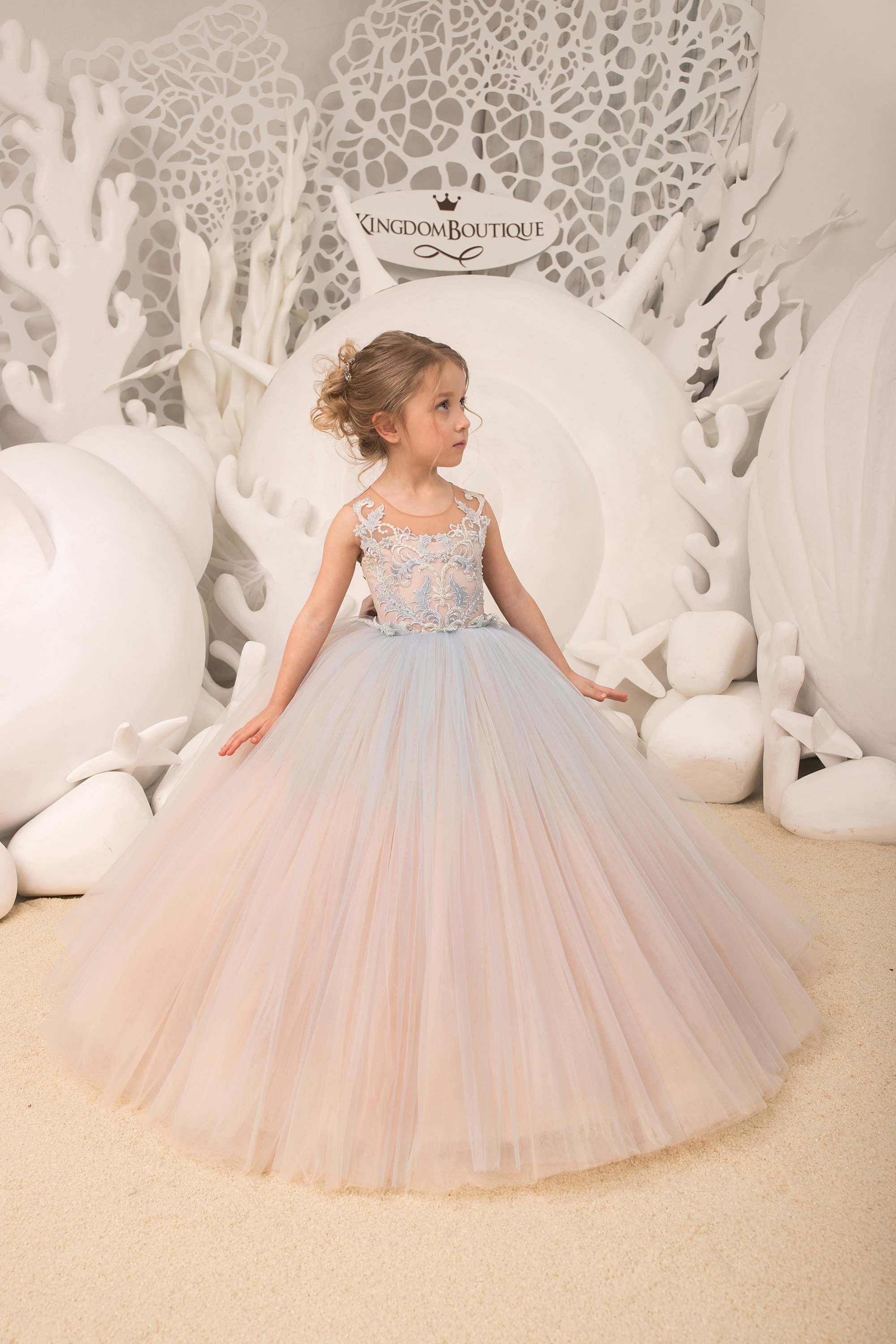Light blue and Cappuccino Flower Girl Dress Birthday Wedding Party Holiday Bridesmaid ,.jpg