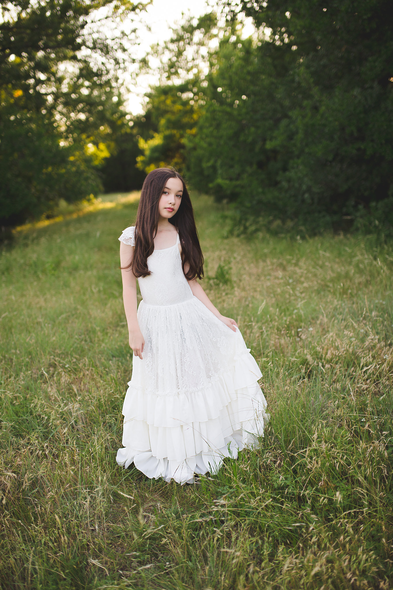 Bohemian Beach Flower Girl Lace Dress Ruffle Sleeves Rustic Junior Bridesmaid Full Length.jpg