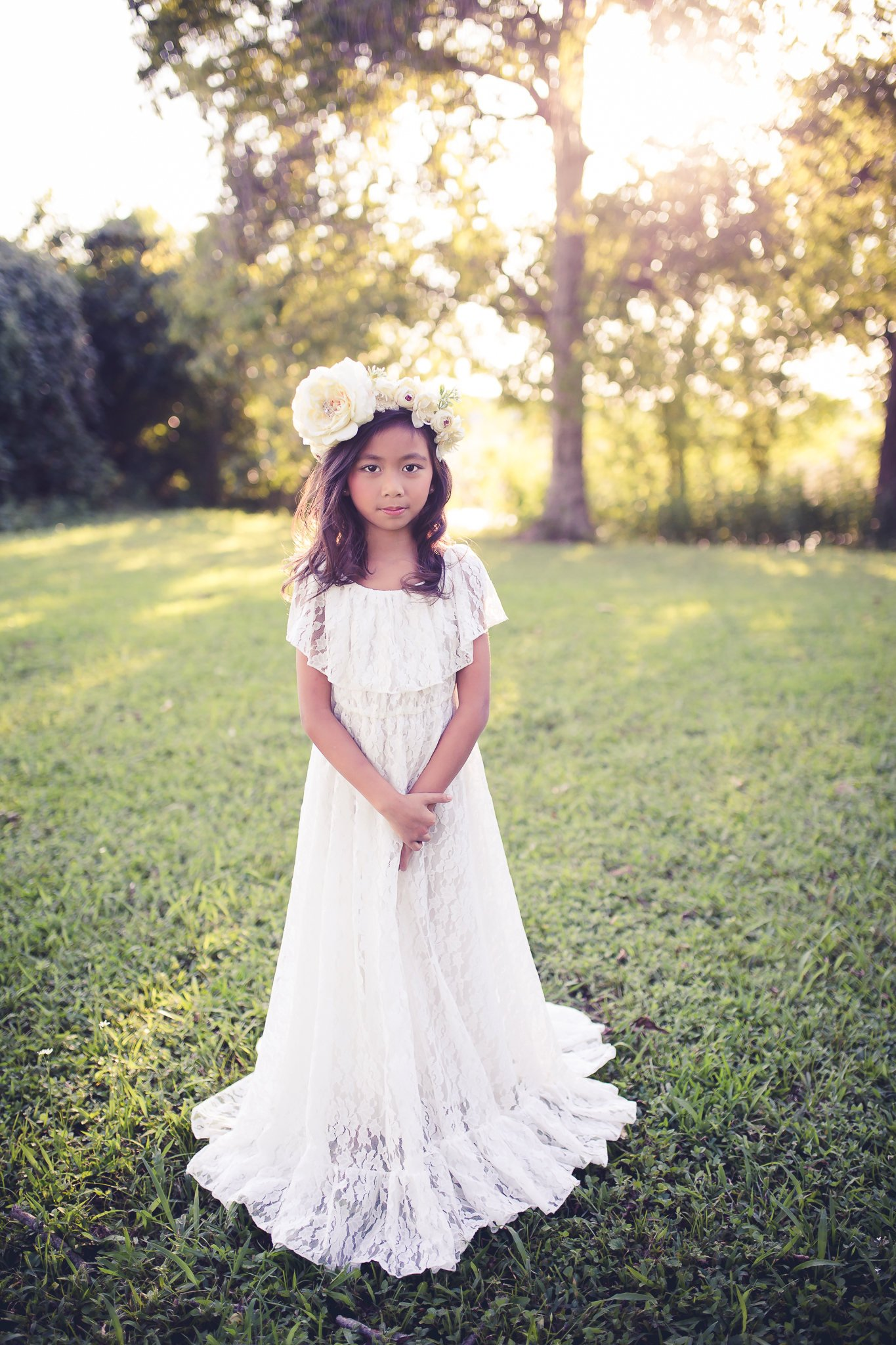 White Flower Girl Dress, White Lace, Rustic.jpg
