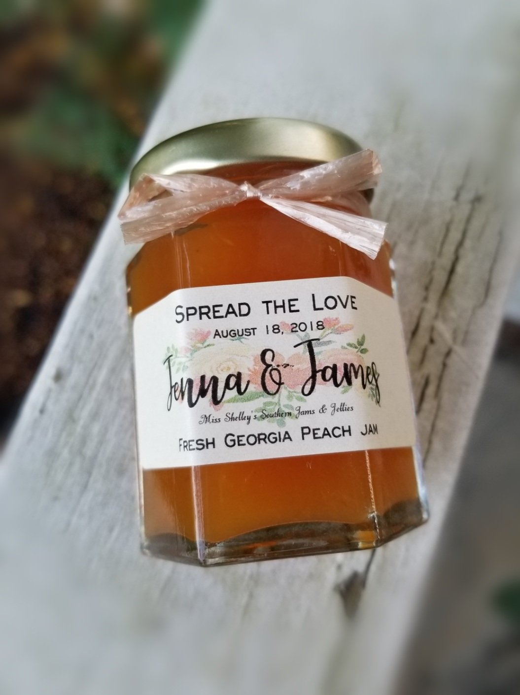 Georgia Peach Jam, Wedding Favors, Personalized Party, Edible.jpg