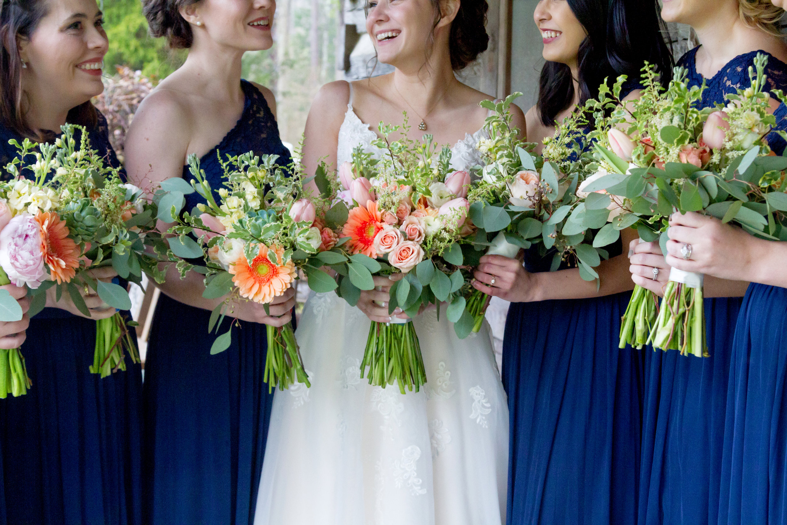 royal blue and coral bridesmaids bouquets.JPG