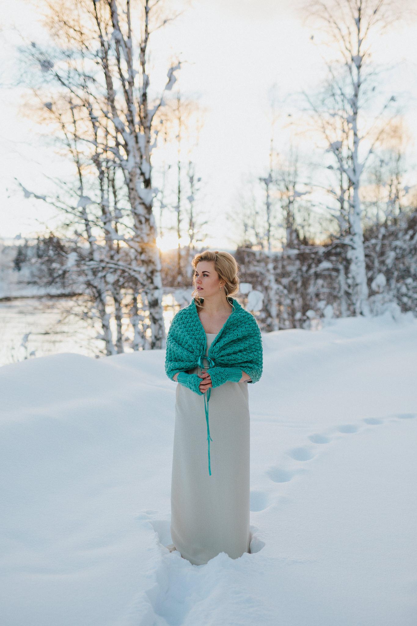 rustic winter wedding bridal shawl and gloves sage green.jpg