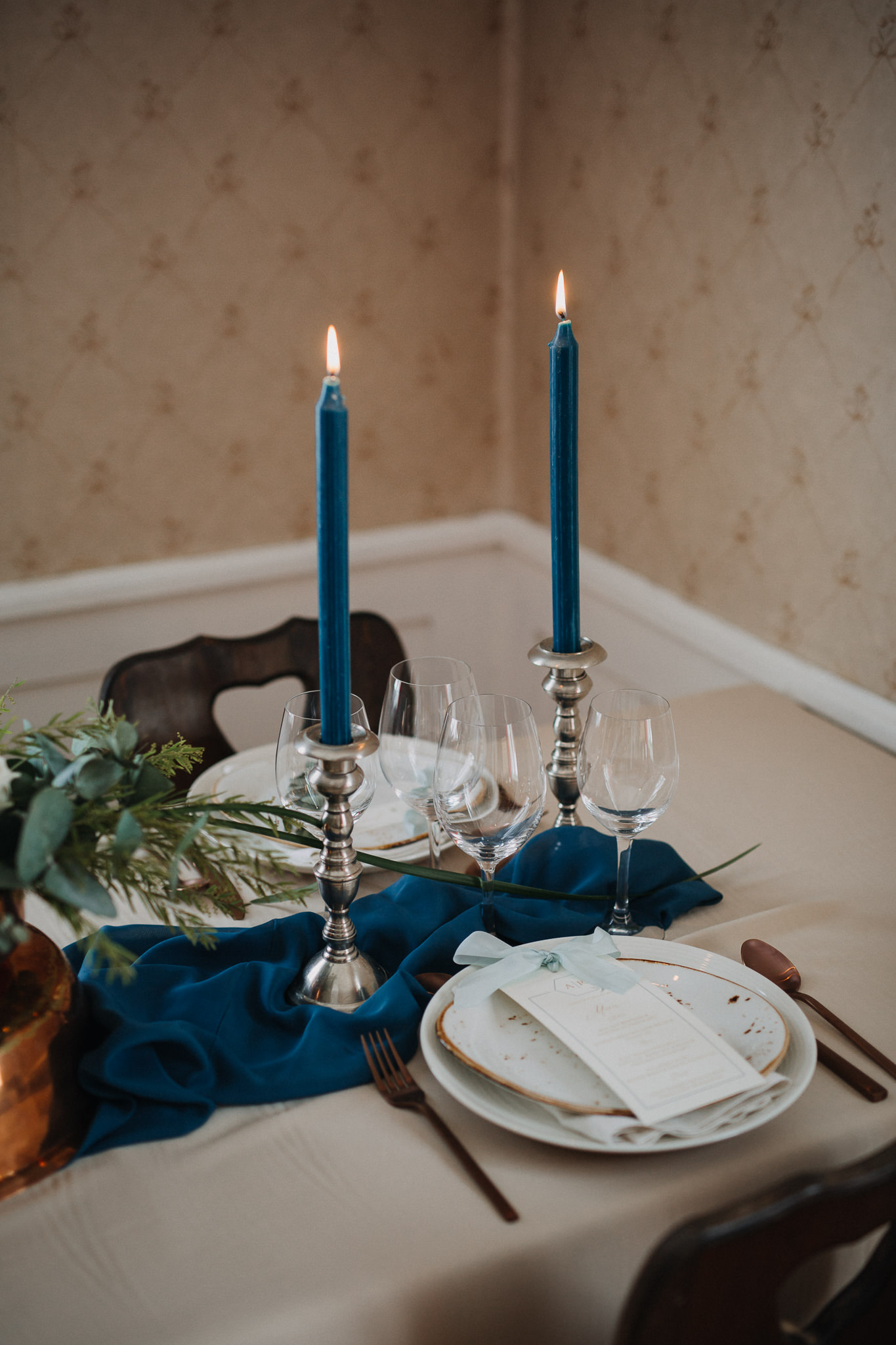 winter wedding table candles blue teal.jpg