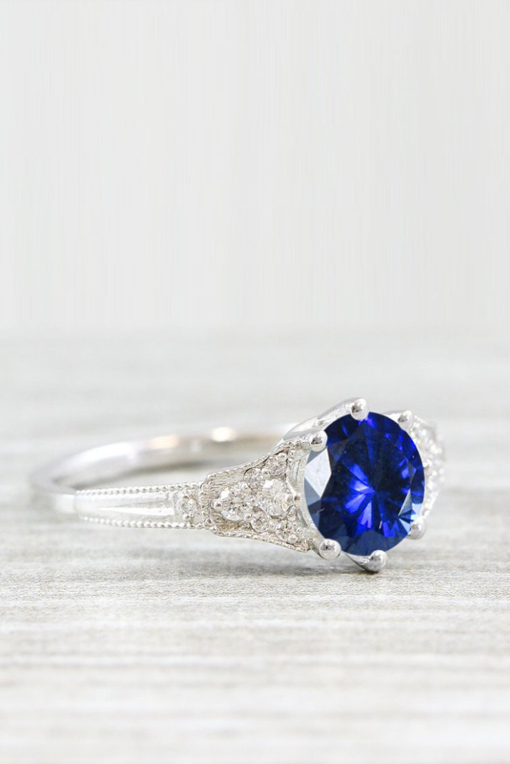 Sapphire and diamond engagement ring antique 1920s inspired handmade in white, rose, yellow gold or platinum.png