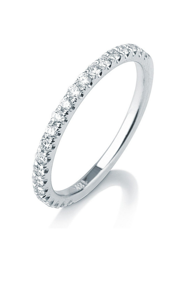 Micro Pave Diamond Wedding Band, Delicate Wedding Band, 14k White Gold Stacking Ring, Diamond Wedding Ring.png